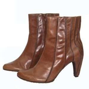 Tsubo Ribbed Cognac Brown leather - Size 7.5